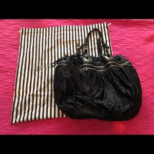 Henri Bendel black satin/ leather tote bag
